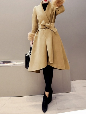 High Low Bow Asymmetric Solid Fur And Shearling Coats_8