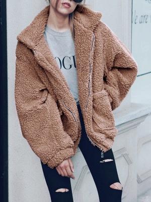 Long Sleeve Solid Casual Zipper Fur and Shearling Coat_5