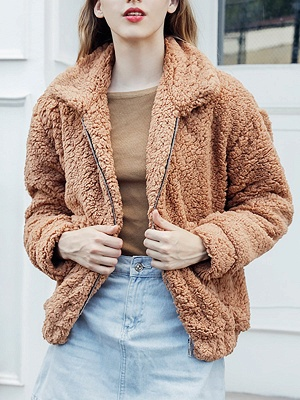 Casual Solid Shift Long Sleeve Fur and Shearling Coat_1
