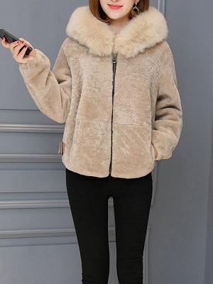 Pockets Zipper Hoodie Fluffy Fur and Shearling Coat_7