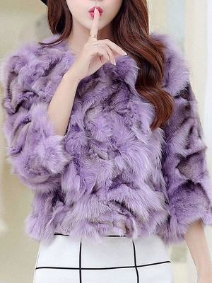 Shift 3/4 Sleeve Casual Fluffy Fur and Shearling Coat_3