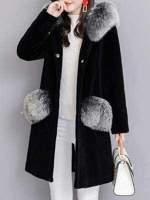 Casual Buttoned Long Sleeve Hoodie Fur and Shearling Coat_3