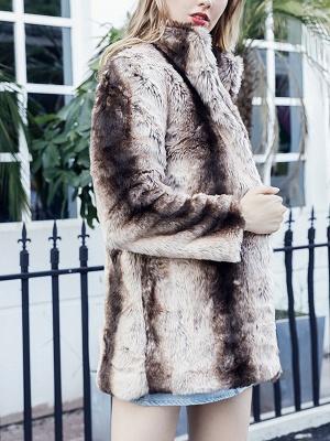 Yellow Long Sleeve Shift Fur and Shearling Coat_4