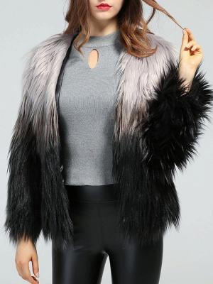 Faux Fur Shift Long Sleeve Casual Fur and Shearling Coat_4