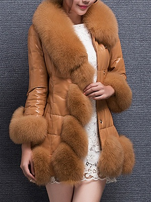 Fluffy Pockets Buttoned A-line Fur and Shearling Coat_2