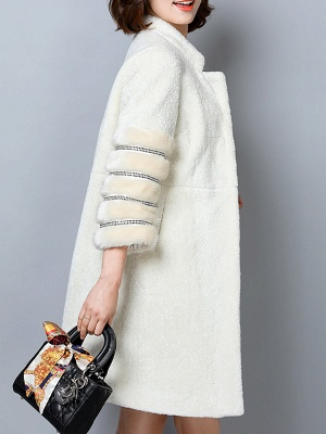 Long Sleeve Pockets Casual Solid Fur and Shearling Coat_6