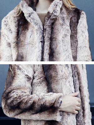 Yellow Long Sleeve Shift Fur and Shearling Coat_5