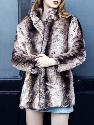 Yellow Long Sleeve Shift Fur and Shearling Coat_1