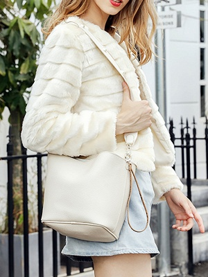 Beige Crew Neck Long Sleeve Fur and Shearling Coat_4
