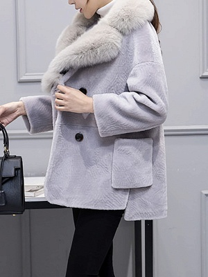 Fluffy Paneled Buttoned Pockets Fur and Shearling Coat_6