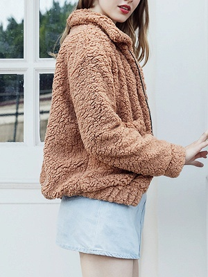 Casual Solid Shift Long Sleeve Fur and Shearling Coat_5