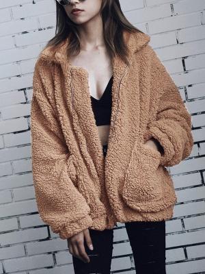 Long Sleeve Solid Casual Zipper Fur and Shearling Coat_1