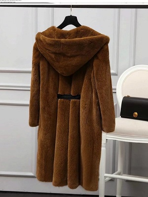 Solid Shift Long Sleeve Bow Casual Fur and Shearling Coat_10