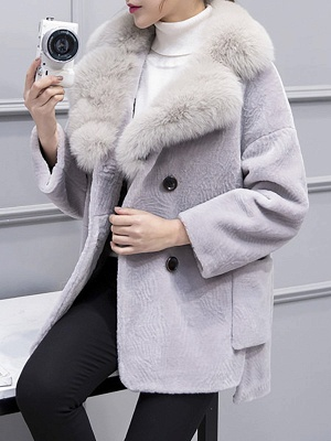 Fluffy Paneled Buttoned Pockets Fur and Shearling Coat_2
