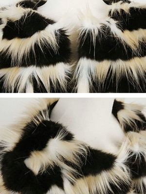 Black-Yellow Long Sleeve Faux Fur Shift Striped Casual Fur and Shearling Coat_5