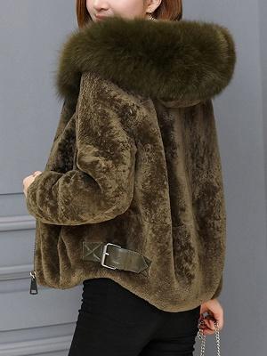 Pockets Zipper Hoodie Fluffy Fur and Shearling Coat_5