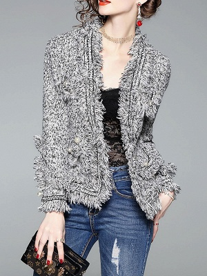 Gray Long Sleeve Casual Paneled Fur and Shearling Coat_6
