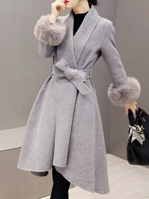 High Low Bow Asymmetric Solid Fur And Shearling Coats_3