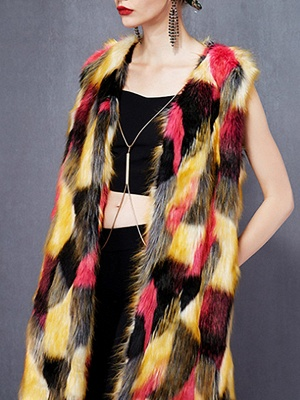Red Sleeveless Color-block Fluffy  Fur and Shearling Coat_4