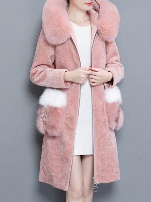 Shift Zipper Pockets Hoodie Fur and Shearling Coat_2