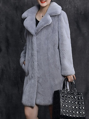 Shawl Collar Casual Long Sleeve Fur and Shearling Coat_3