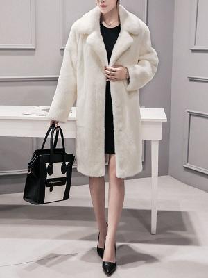 Shawl Collar Casual Long Sleeve Fur and Shearling Coat_1