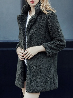 Green Solid Shift Faux Fur Casual Long Sleeve Fur and Shearling Coat_4