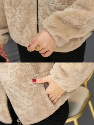 Pockets Zipper Hoodie Fluffy Fur and Shearling Coat_9