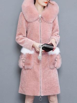 Shift Zipper Pockets Hoodie Fur and Shearling Coat_6