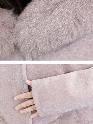 Casual Buttoned Long Sleeve Hoodie Fur and Shearling Coat_8