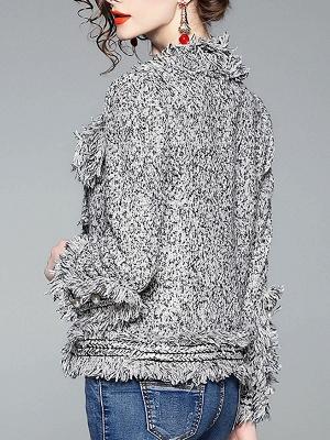 Gray Long Sleeve Casual Paneled Fur and Shearling Coat_3