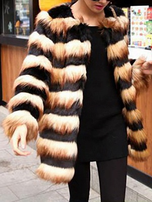 Black-Yellow Long Sleeve Faux Fur Shift Striped Casual Fur and Shearling Coat_3