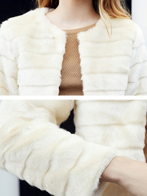 Beige Crew Neck Long Sleeve Fur and Shearling Coat_5