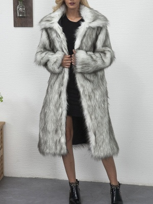 Long Sleeve Solid Crew Neck Fluffy  Fur and Shearling Coat_1