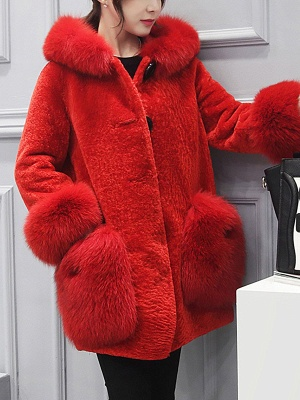 Buttoned Pockets Fluffy Paneled Fur and Shearling Coat_2