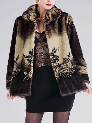 Floral-print Ombre/Tie-Dye Fur and Shearling Coat_1