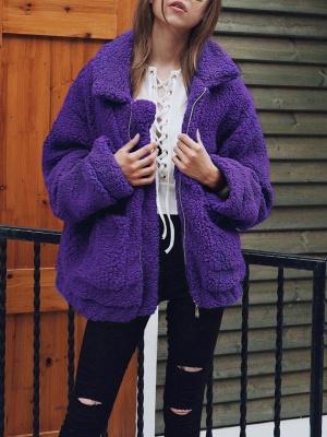 Long Sleeve Solid Casual Zipper Fur and Shearling Coat_2