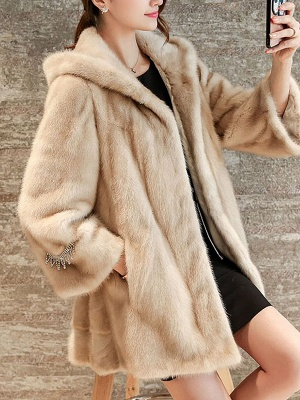 Beige Hoodie Fluffy  Pockets Fur and Shearling Coat_7