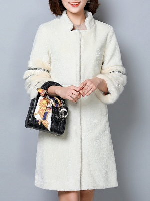 Long Sleeve Pockets Casual Solid Fur and Shearling Coat_1
