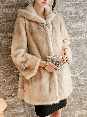 Beige Hoodie Fluffy  Pockets Fur and Shearling Coat_3