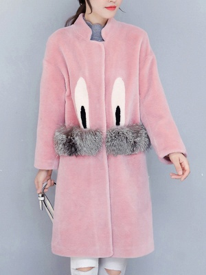 Pockets Fluffy Buttoned Fur and Shearling Coat_1