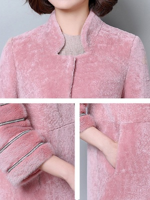 Long Sleeve Pockets Casual Solid Fur and Shearling Coat_7