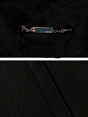 Black Casual Paneled Faux Fur Solid Fur and Shearling Coat_5