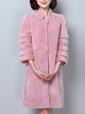 Long Sleeve Pockets Casual Solid Fur and Shearling Coat_2