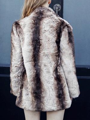 Yellow Long Sleeve Shift Fur and Shearling Coat_3