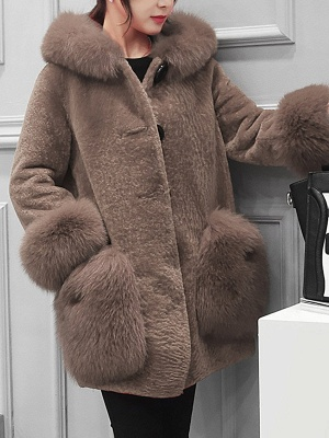 Buttoned Pockets Fluffy Paneled Fur and Shearling Coat_1