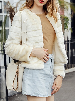Beige Crew Neck Long Sleeve Fur and Shearling Coat_6