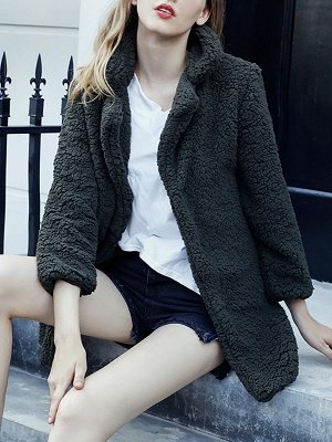 Green Solid Shift Faux Fur Casual Long Sleeve Fur and Shearling Coat_6