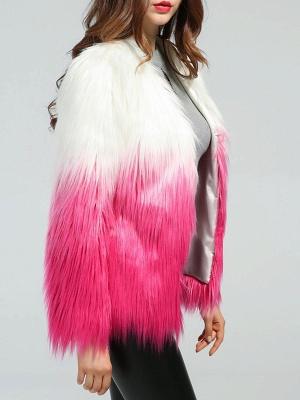 Faux Fur Shift Long Sleeve Casual Fur and Shearling Coat_5