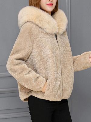 Pockets Zipper Hoodie Fluffy Fur and Shearling Coat_1